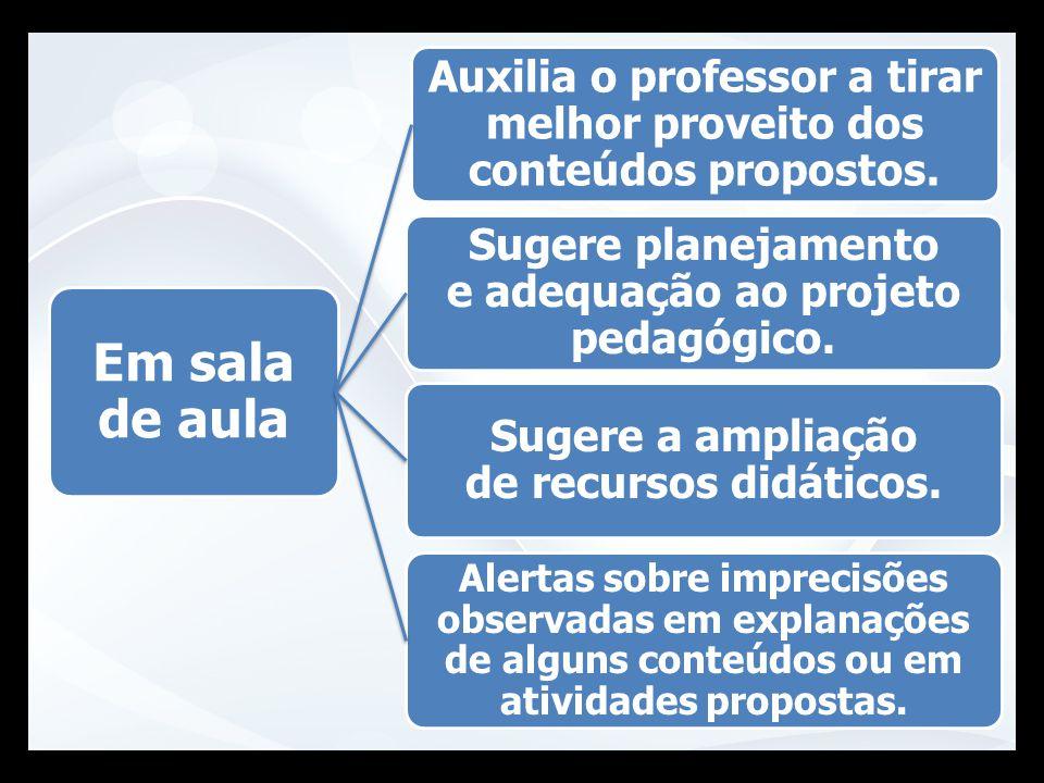 Em sala de aula Auxilia o professor a tirar melhor proveito dos conteúdos propostos. Sugere planejamento e adequação ao projeto pedagógico. Sugere a a