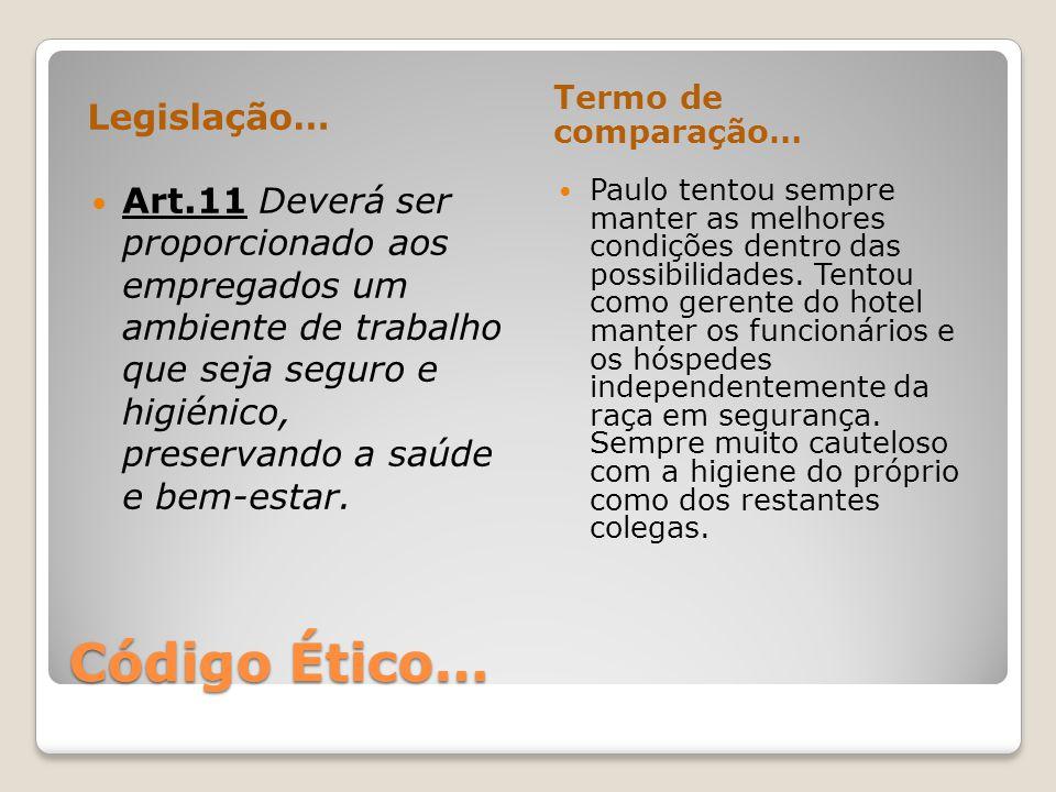 Código Ético… Legislação… Termo de comparação… Art.11 Deverá ser proporcionado aos empregados um ambiente de trabalho que seja seguro e higiénico, pre