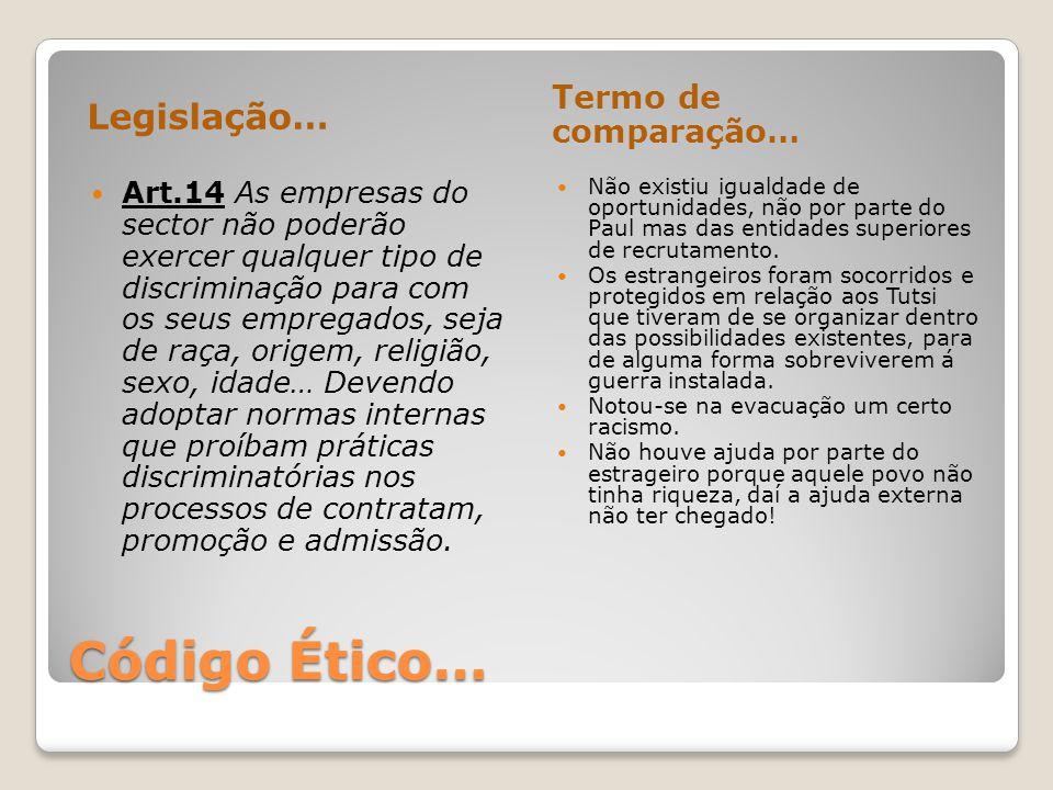 Código Ético… Legislação… Termo de comparação… Art.14 As empresas do sector não poderão exercer qualquer tipo de discriminação para com os seus empreg