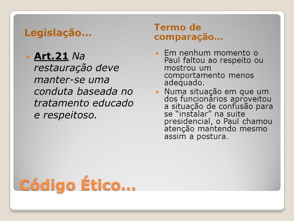 Código Ético… Legislação… Termo de comparação… Art.21 Na restauração deve manter-se uma conduta baseada no tratamento educado e respeitoso. Em nenhum