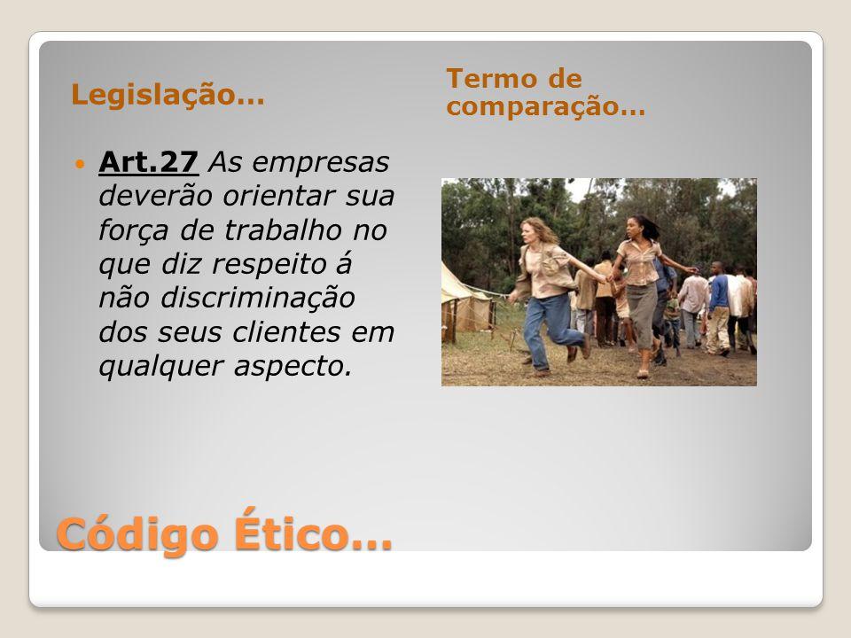 Código Ético… Legislação… Termo de comparação… Art.27 As empresas deverão orientar sua força de trabalho no que diz respeito á não discriminação dos s