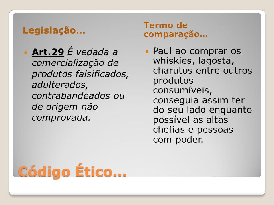 Código Ético… Legislação… Termo de comparação… Art.29 É vedada a comercialização de produtos falsificados, adulterados, contrabandeados ou de origem n