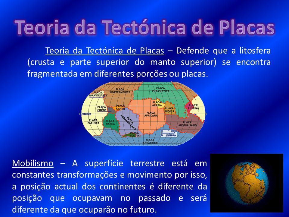 Teoria da Tectónica de Placas – Defende que a litosfera (crusta e parte superior do manto superior) se encontra fragmentada em diferentes porções ou p