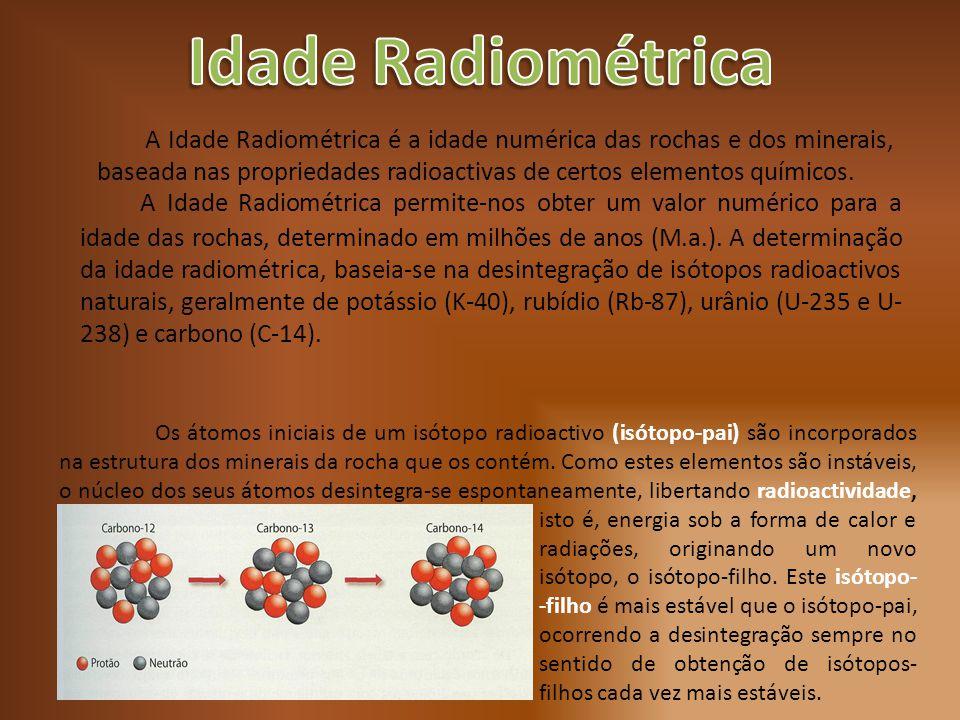 A Idade Radiométrica permite-nos obter um valor numérico para a idade das rochas, determinado em milhões de anos (M.a.). A determinação da idade radio