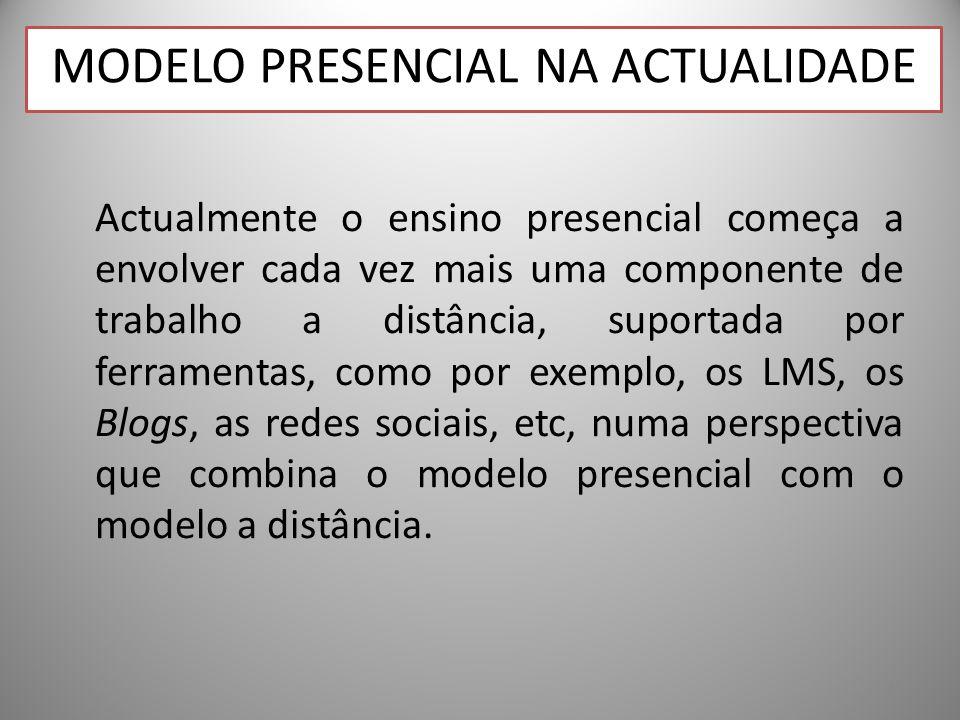 Actualmente o ensino presencial começa a envolver cada vez mais uma componente de trabalho a distância, suportada por ferramentas, como por exemplo, os LMS, os Blogs, as redes sociais, etc, numa perspectiva que combina o modelo presencial com o modelo a distância.