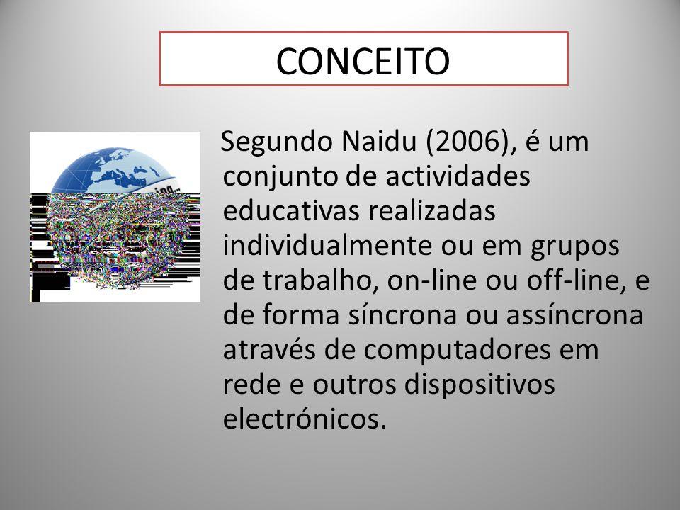 18 CONCEITO Segundo Naidu (2006), é um conjunto de actividades educativas realizadas individualmente ou em grupos de trabalho, on-line ou off-line, e de forma síncrona ou assíncrona através de computadores em rede e outros dispositivos electrónicos.