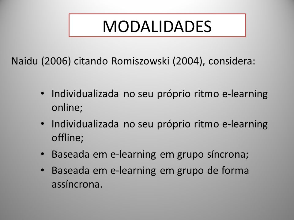 19 Naidu (2006) citando Romiszowski (2004), considera: Individualizada no seu próprio ritmo e-learning online; Individualizada no seu próprio ritmo e-learning offline; Baseada em e-learning em grupo síncrona; Baseada em e-learning em grupo de forma assíncrona.