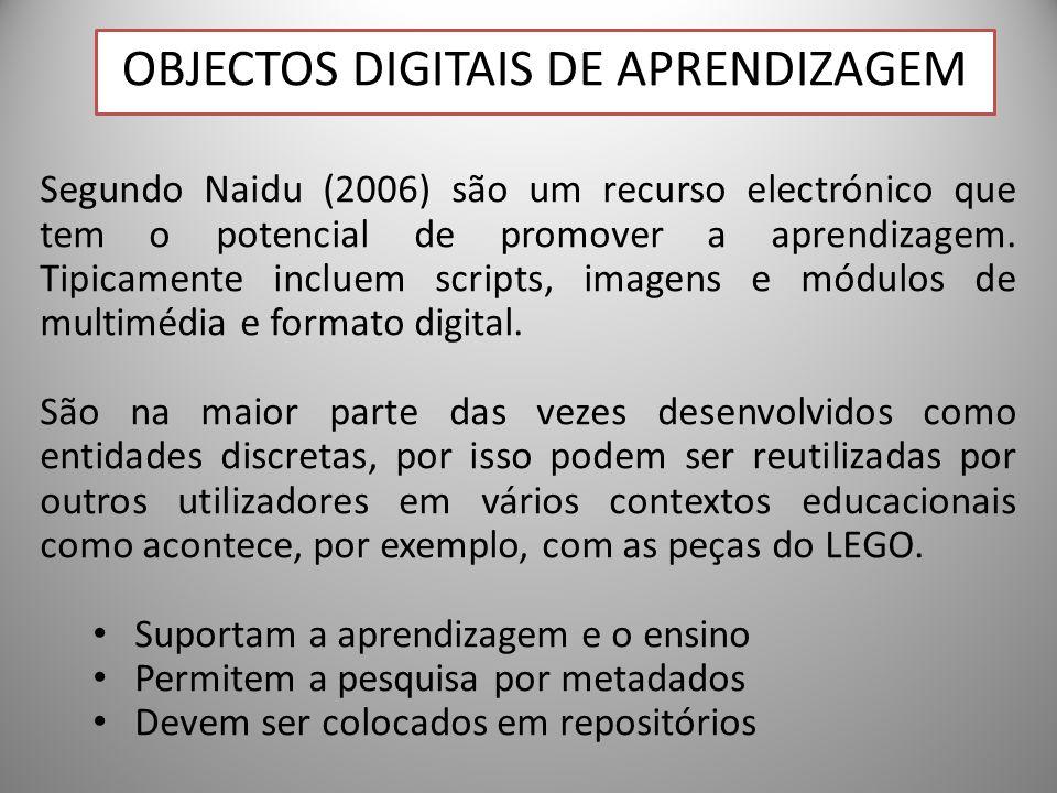 24 Segundo Naidu (2006) são um recurso electrónico que tem o potencial de promover a aprendizagem. Tipicamente incluem scripts, imagens e módulos de m