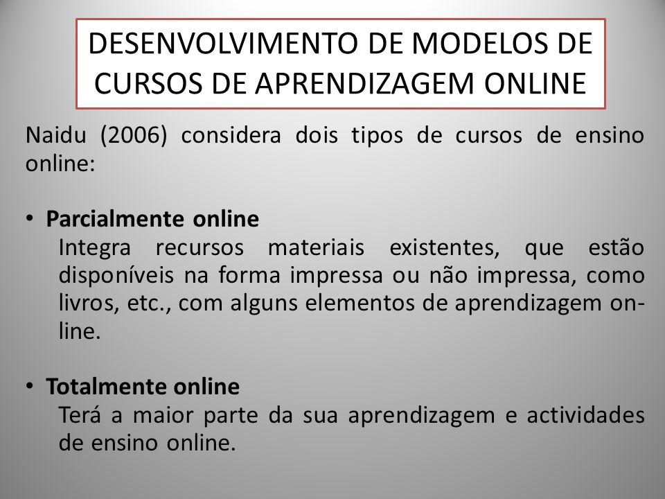 26 Naidu (2006) considera dois tipos de cursos de ensino online: Parcialmente online Integra recursos materiais existentes, que estão disponíveis na forma impressa ou não impressa, como livros, etc., com alguns elementos de aprendizagem on- line.