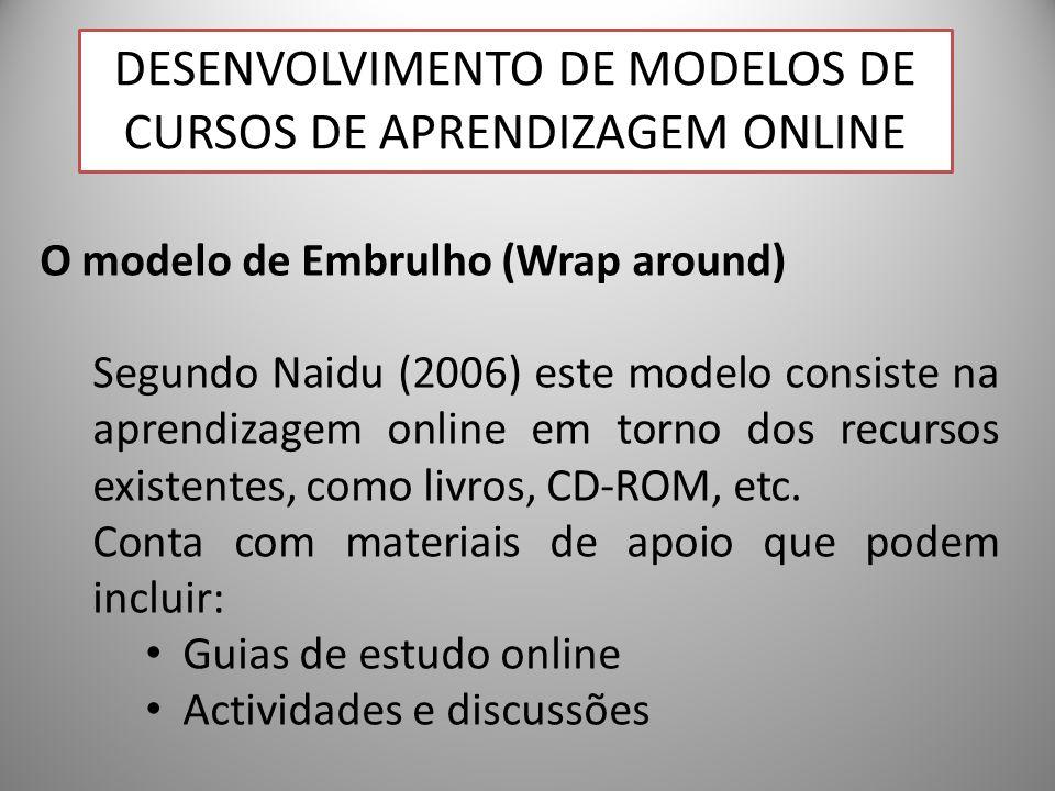 27 O modelo de Embrulho (Wrap around) Segundo Naidu (2006) este modelo consiste na aprendizagem online em torno dos recursos existentes, como livros, CD-ROM, etc.