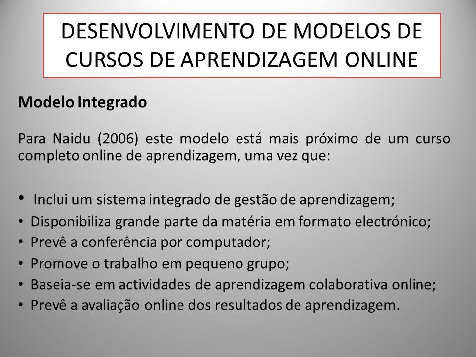28 Modelo Integrado Para Naidu (2006) este modelo está mais próximo de um curso completo online de aprendizagem, uma vez que: Inclui um sistema integr
