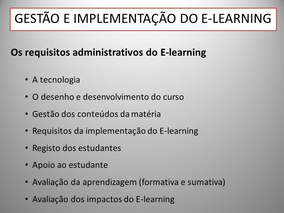 29 Os requisitos administrativos do E-learning A tecnologia O desenho e desenvolvimento do curso Gestão dos conteúdos da matéria Requisitos da implementação do E-learning Registo dos estudantes Apoio ao estudante Avaliação da aprendizagem (formativa e sumativa) Avaliação dos impactos do E-learning GESTÃO E IMPLEMENTAÇÃO DO E-LEARNING