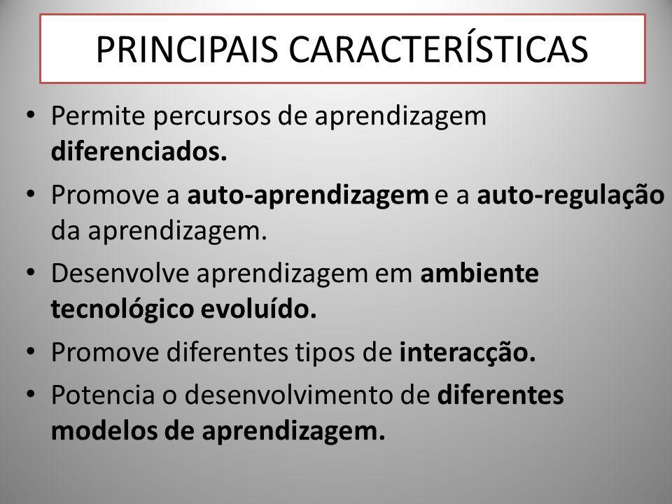 PRINCIPAIS CARACTERÍSTICAS Permite percursos de aprendizagem diferenciados. Promove a auto-aprendizagem e a auto-regulação da aprendizagem. Desenvolve