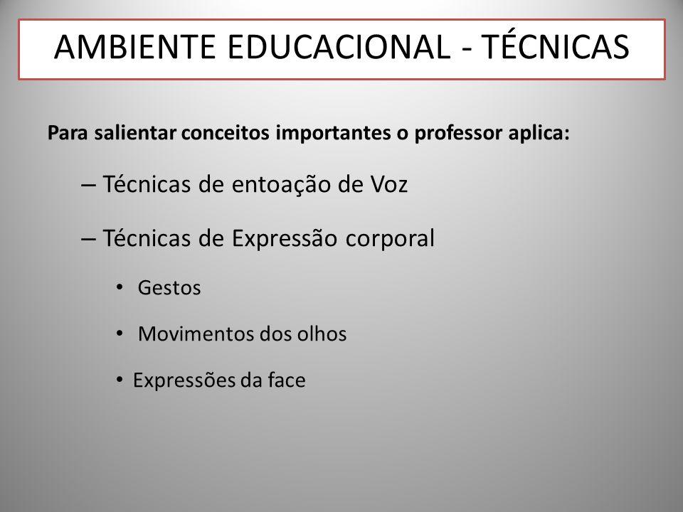 Para salientar conceitos importantes o professor aplica: – Técnicas de entoação de Voz – Técnicas de Expressão corporal Gestos Movimentos dos olhos Expressões da face AMBIENTE EDUCACIONAL - TÉCNICAS
