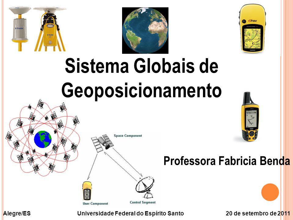 O UTROS S ISTEMAS CLONASS ( Glo bal Na vigation S atellite S ystem) ou GNSS  24 satelites espaçados em 64,8 o de inclinação em relação a linha do Equador  Altitude de 19100 km  Duas freqüencias L 1 = 1602 MHz + j x 0,5625 MHz L 1 = 1246 MHz + j x 0,4375 MHz j é o número do satélite