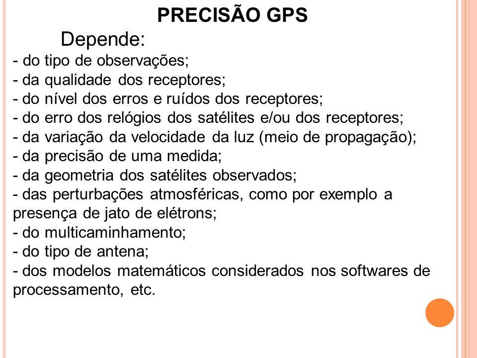 PRECISÃO GPS Depende: - do tipo de observações; - da qualidade dos receptores; - do nível dos erros e ruídos dos receptores; - do erro dos relógios do