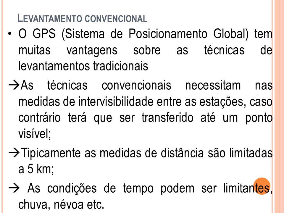 L EVANTAMENTO CONVENCIONAL O GPS (Sistema de Posicionamento Global) tem muitas vantagens sobre as técnicas de levantamentos tradicionais  As técnicas