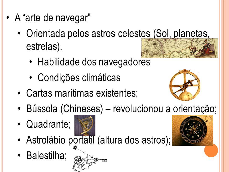 """A """"arte de navegar"""" Orientada pelos astros celestes (Sol, planetas, estrelas). Habilidade dos navegadores Condições climáticas Cartas marítimas existe"""