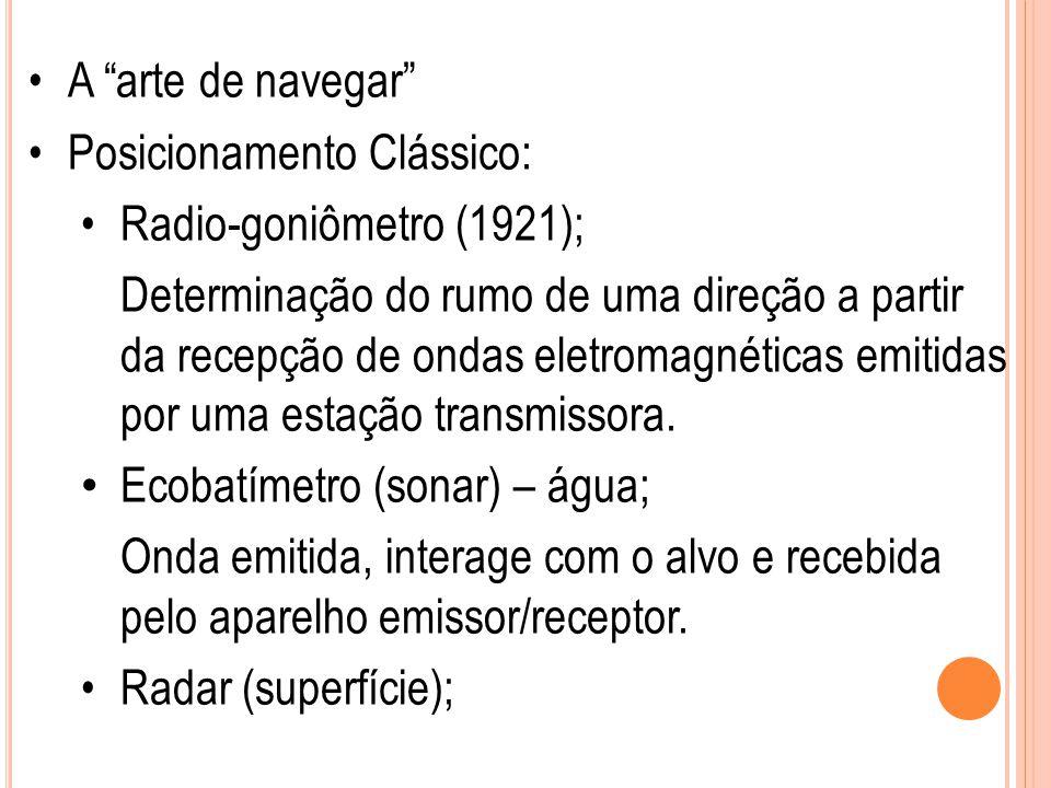 """A """"arte de navegar"""" Posicionamento Clássico: Radio-goniômetro (1921); Determinação do rumo de uma direção a partir da recepção de ondas eletromagnétic"""