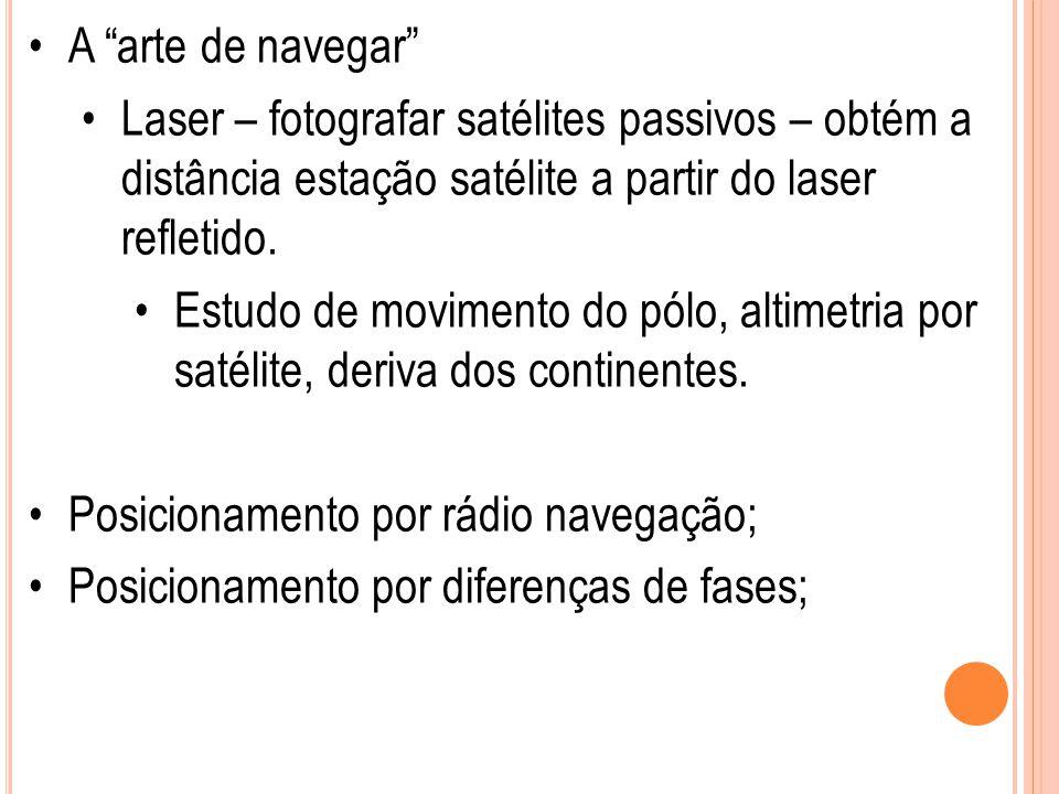 """A """"arte de navegar"""" Laser – fotografar satélites passivos – obtém a distância estação satélite a partir do laser refletido. Estudo de movimento do pól"""