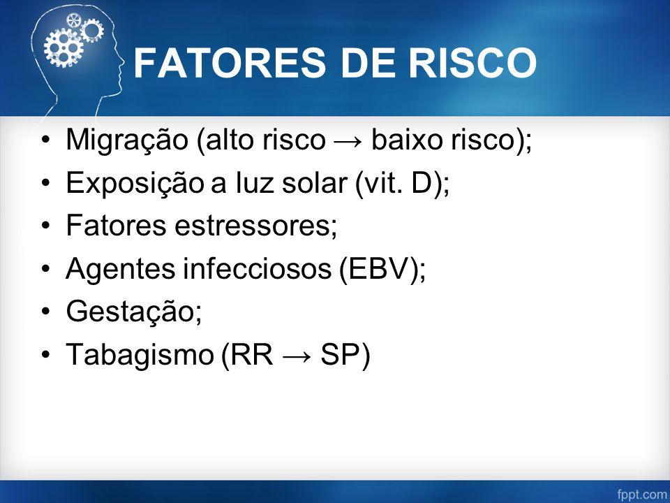 FATORES DE RISCO Migração (alto risco → baixo risco); Exposição a luz solar (vit. D); Fatores estressores; Agentes infecciosos (EBV); Gestação; Tabagi