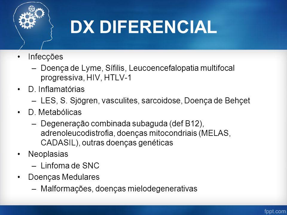 DX DIFERENCIAL Infecções –Doença de Lyme, Sífilis, Leucoencefalopatia multifocal progressiva, HIV, HTLV-1 D. Inflamatórias –LES, S. Sjögren, vasculite