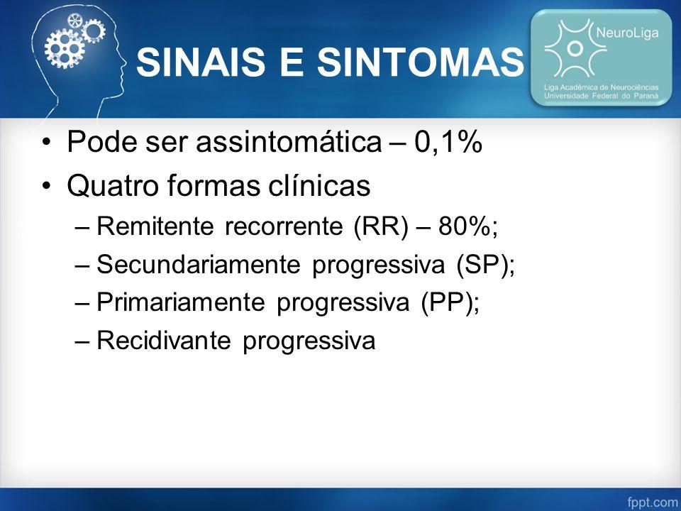 SINAIS E SINTOMAS Pode ser assintomática – 0,1% Quatro formas clínicas –Remitente recorrente (RR) – 80%; –Secundariamente progressiva (SP); –Primariamente progressiva (PP); –Recidivante progressiva