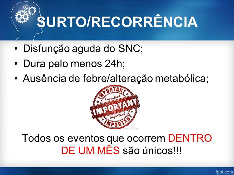 SURTO/RECORRÊNCIA Disfunção aguda do SNC; Dura pelo menos 24h; Ausência de febre/alteração metabólica; Todos os eventos que ocorrem DENTRO DE UM MÊS são únicos!!!