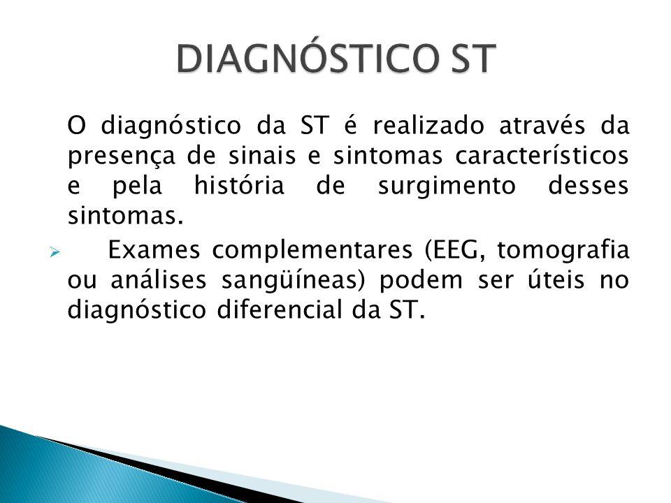 O diagnóstico da ST é realizado através da presença de sinais e sintomas característicos e pela história de surgimento desses sintomas.
