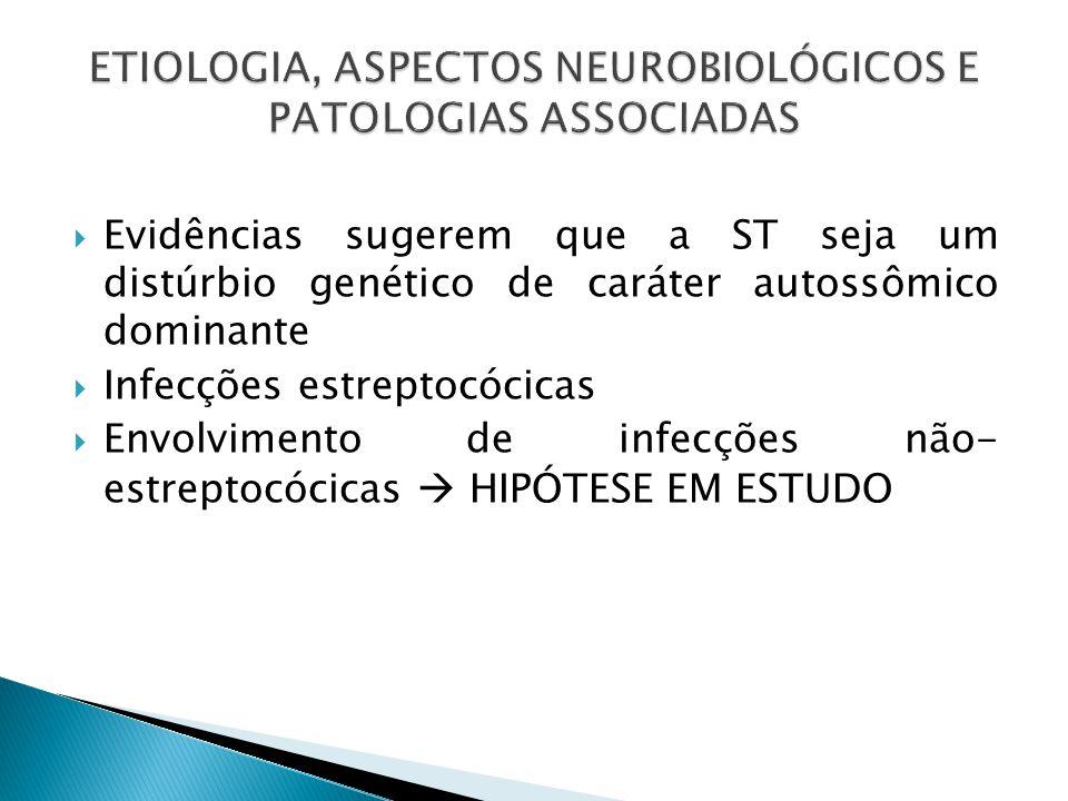  Evidências sugerem que a ST seja um distúrbio genético de caráter autossômico dominante  Infecções estreptocócicas  Envolvimento de infecções não- estreptocócicas  HIPÓTESE EM ESTUDO