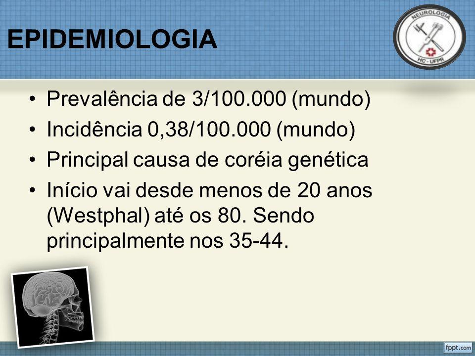 EPIDEMIOLOGIA Prevalência de 3/100.000 (mundo) Incidência 0,38/100.000 (mundo) Principal causa de coréia genética Início vai desde menos de 20 anos (Westphal) até os 80.