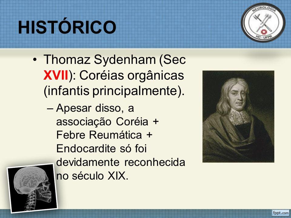 HISTÓRICO Thomaz Sydenham (Sec XVII): Coréias orgânicas (infantis principalmente).