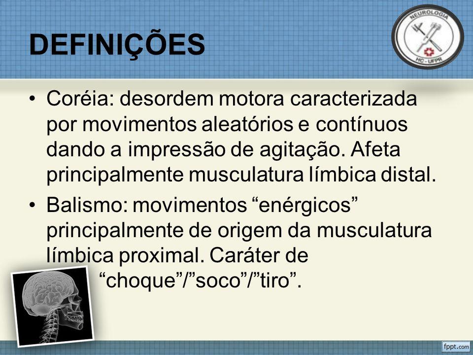 DIAGNÓSTICO DE CORÉIAS Exame Neurológico Distribuição da Coréia Focal/HemicoreiaCompletaAchados associados Ataxia (Espinocerebelar 2,3,17) Demência (Huntington/HDL 2) Neuropatia periférica (Ataxia telangiectasia/Coréia acantocitose)