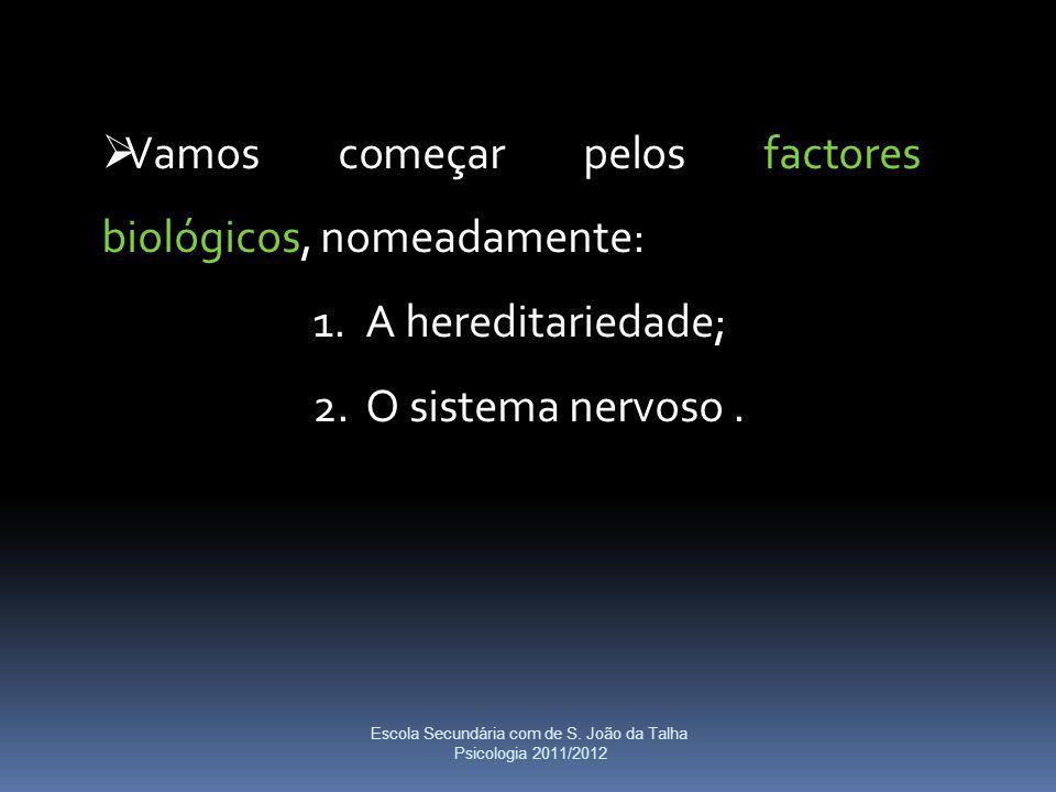  Vamos começar pelos factores biológicos, nomeadamente: 1.A hereditariedade; 2.O sistema nervoso. Escola Secundária com de S. João da Talha Psicologi