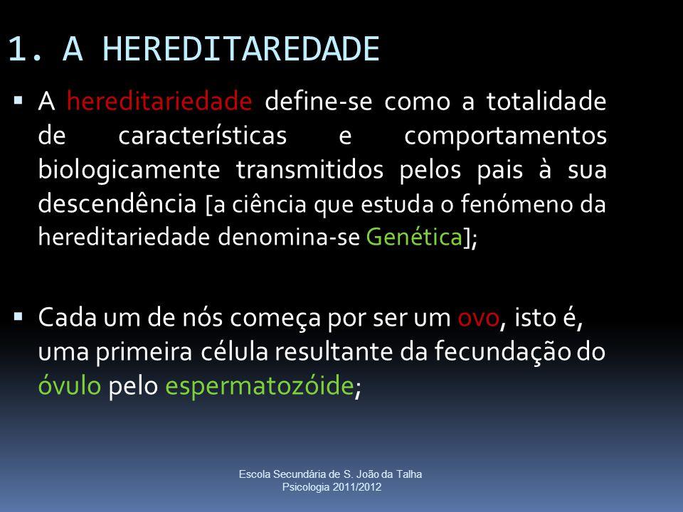 Escola Secundária de S. João da Talha Psicologia 2011/2012 1.A HEREDITAREDADE  A hereditariedade define-se como a totalidade de características e com