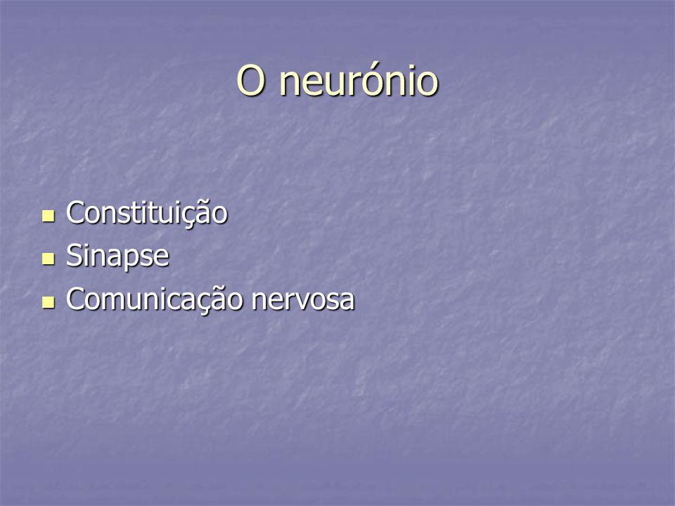 O neurónio Constituição Constituição Sinapse Sinapse Comunicação nervosa Comunicação nervosa