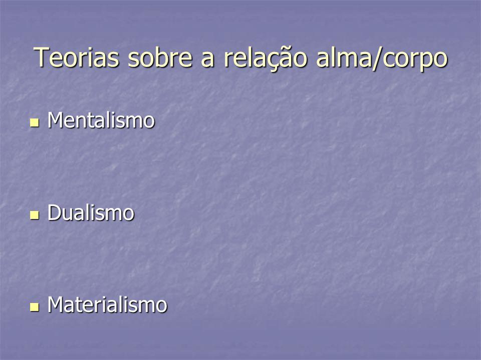Teorias sobre a relação alma/corpo Mentalismo Mentalismo Dualismo Dualismo Materialismo Materialismo