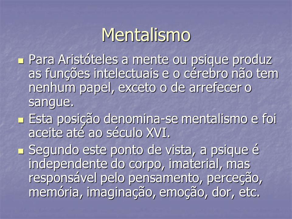 Mentalismo Para Aristóteles a mente ou psique produz as funções intelectuais e o cérebro não tem nenhum papel, exceto o de arrefecer o sangue. Para Ar