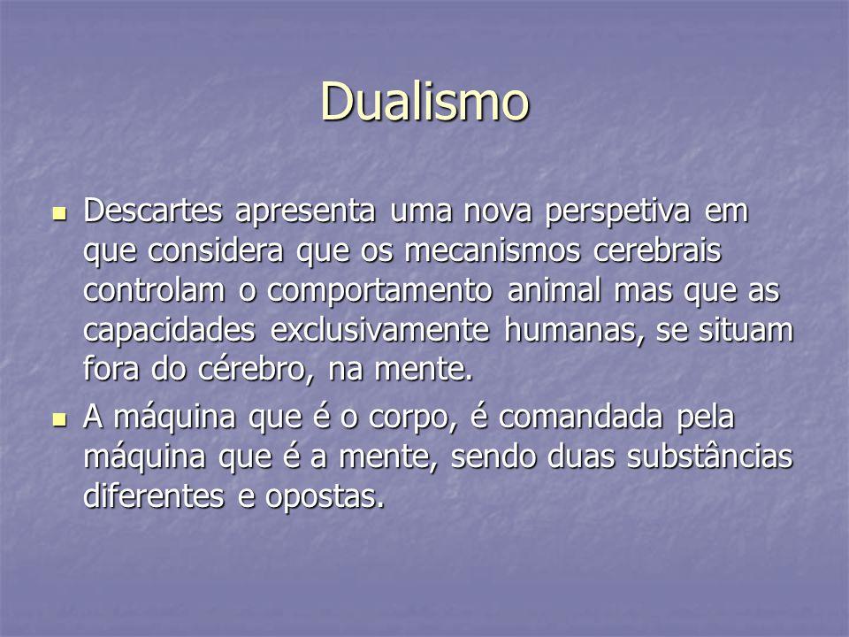 Dualismo Descartes apresenta uma nova perspetiva em que considera que os mecanismos cerebrais controlam o comportamento animal mas que as capacidades