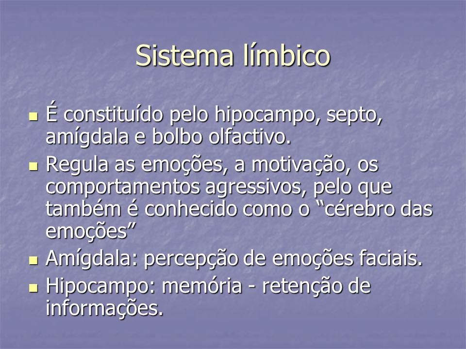 Sistema límbico É constituído pelo hipocampo, septo, amígdala e bolbo olfactivo. É constituído pelo hipocampo, septo, amígdala e bolbo olfactivo. Regu