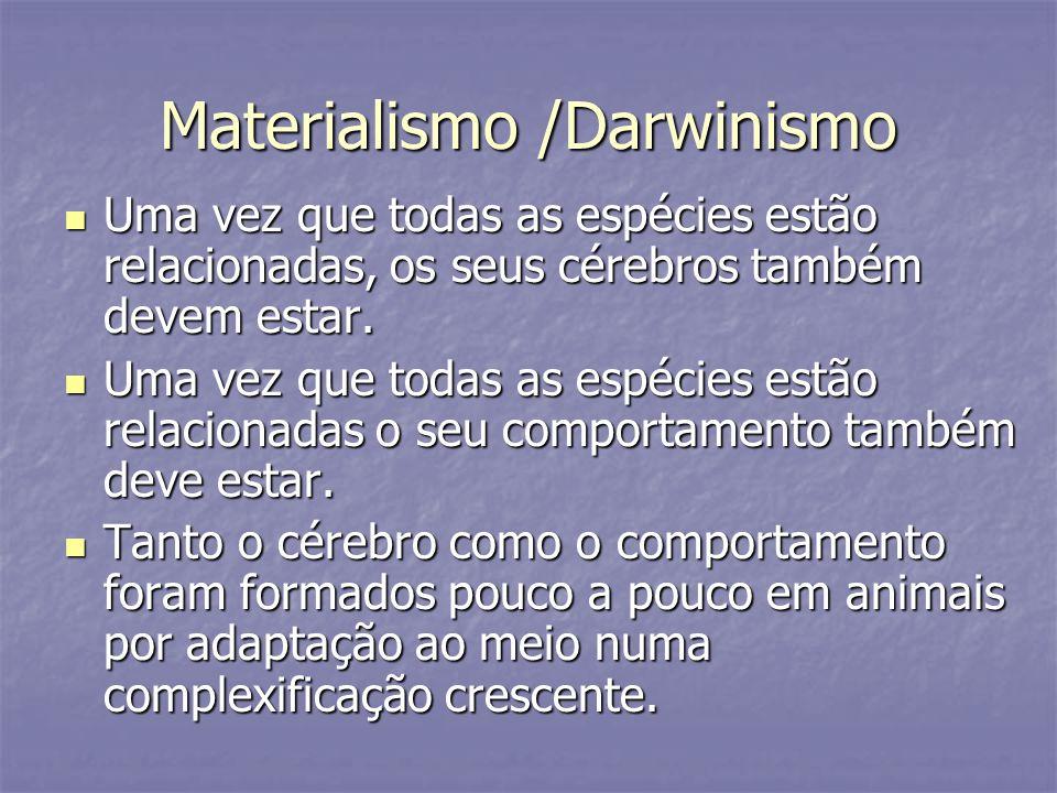 Materialismo /Darwinismo Uma vez que todas as espécies estão relacionadas, os seus cérebros também devem estar. Uma vez que todas as espécies estão re