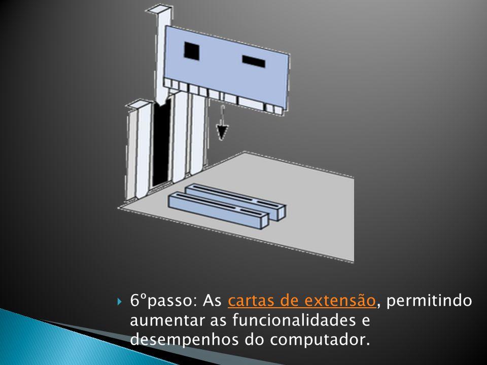  6ºpasso: As cartas de extensão, permitindo aumentar as funcionalidades e desempenhos do computador.cartas de extensão