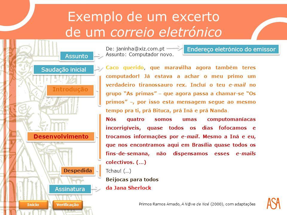 Exemplo de um excerto de um correio eletrónico De: janinha@xiz.com.pt Assunto: Computador novo.