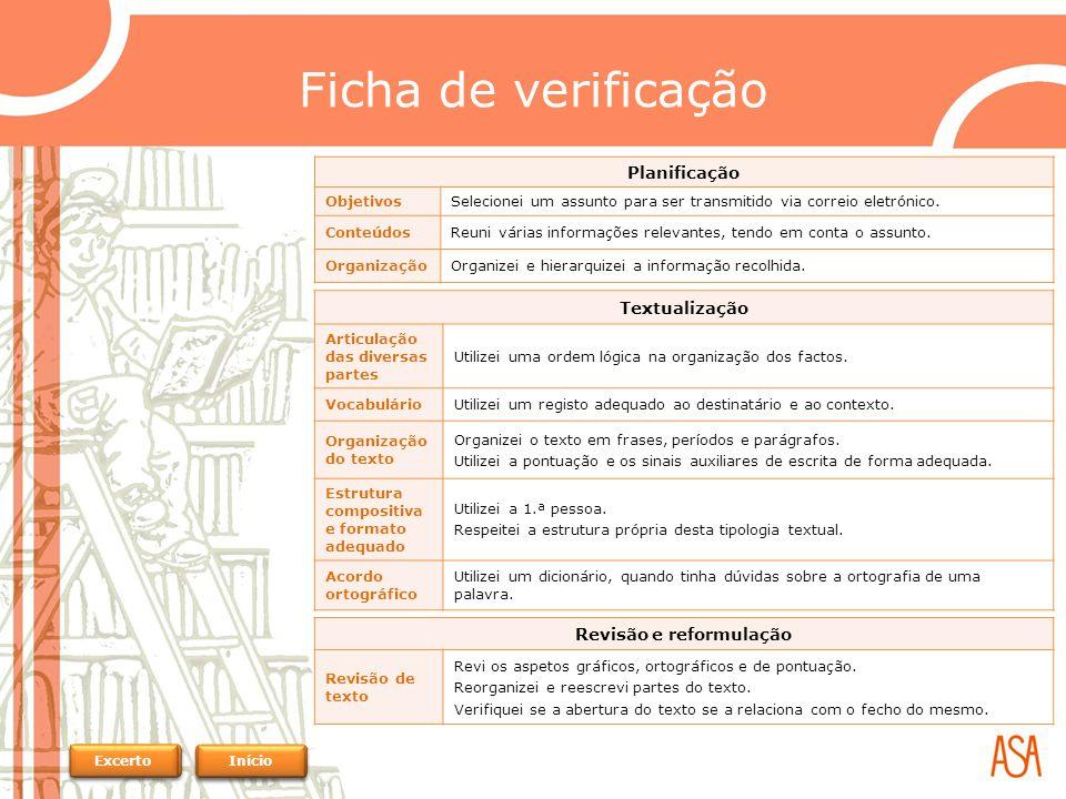 Ficha de verificação Planificação ObjetivosSelecionei um assunto para ser transmitido via correio eletrónico.