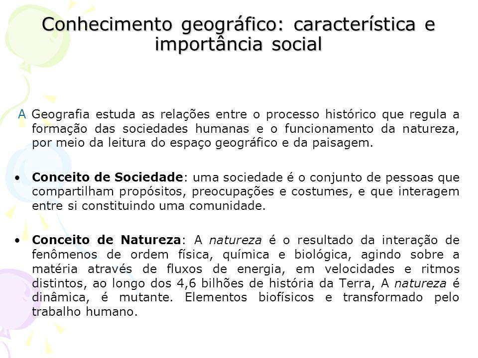 Conhecimento geográfico: característica e importância social A Geografia estuda as relações entre o processo histórico que regula a formação das sociedades humanas e o funcionamento da natureza, por meio da leitura do espaço geográfico e da paisagem.