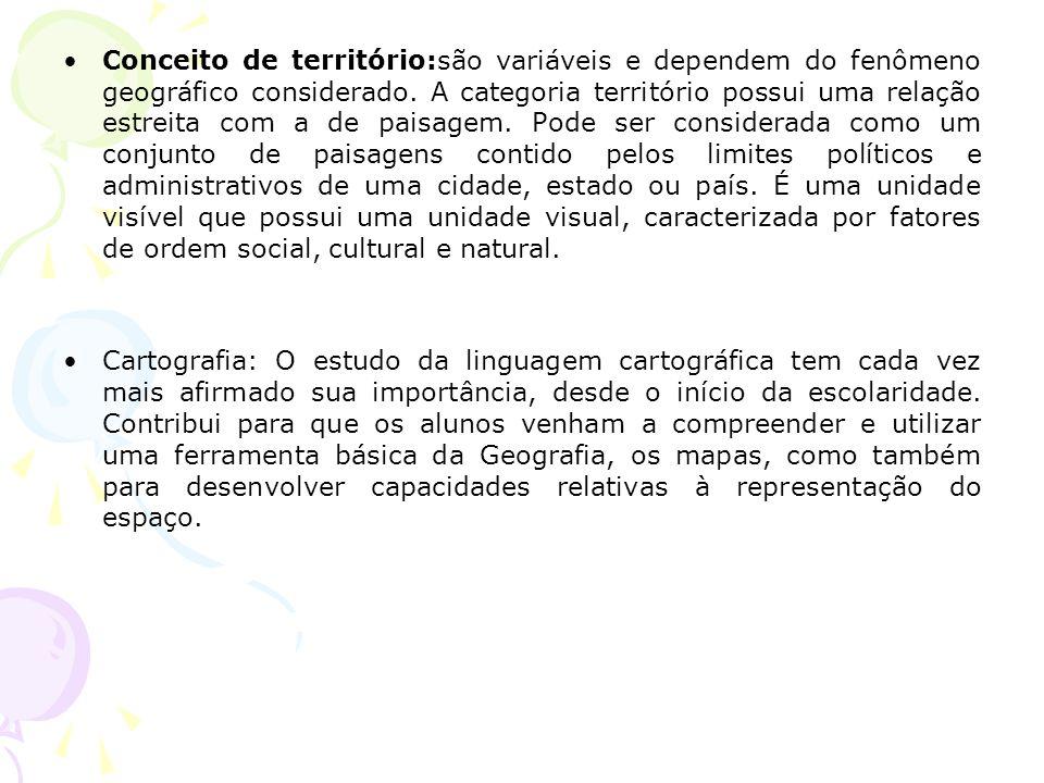Conceito de território:são variáveis e dependem do fenômeno geográfico considerado.