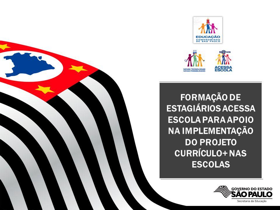 SECRETARIA DA EDUCAÇÃO FORMAÇÃO DE ESTAGIÁRIOS ACESSA ESCOLA PARA APOIO NA IMPLEMENTAÇÃO DO PROJETO CURRÍCULO+ NAS ESCOLAS