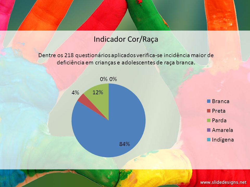 Indicador Cor/Raça Dentre os 218 questionários aplicados verifica-se incidência maior de deficiência em crianças e adolescentes de raça branca.