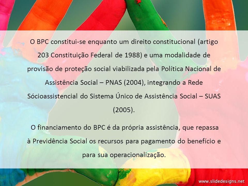 O BPC constitui-se enquanto um direito constitucional (artigo 203 Constituição Federal de 1988) e uma modalidade de provisão de proteção social viabil