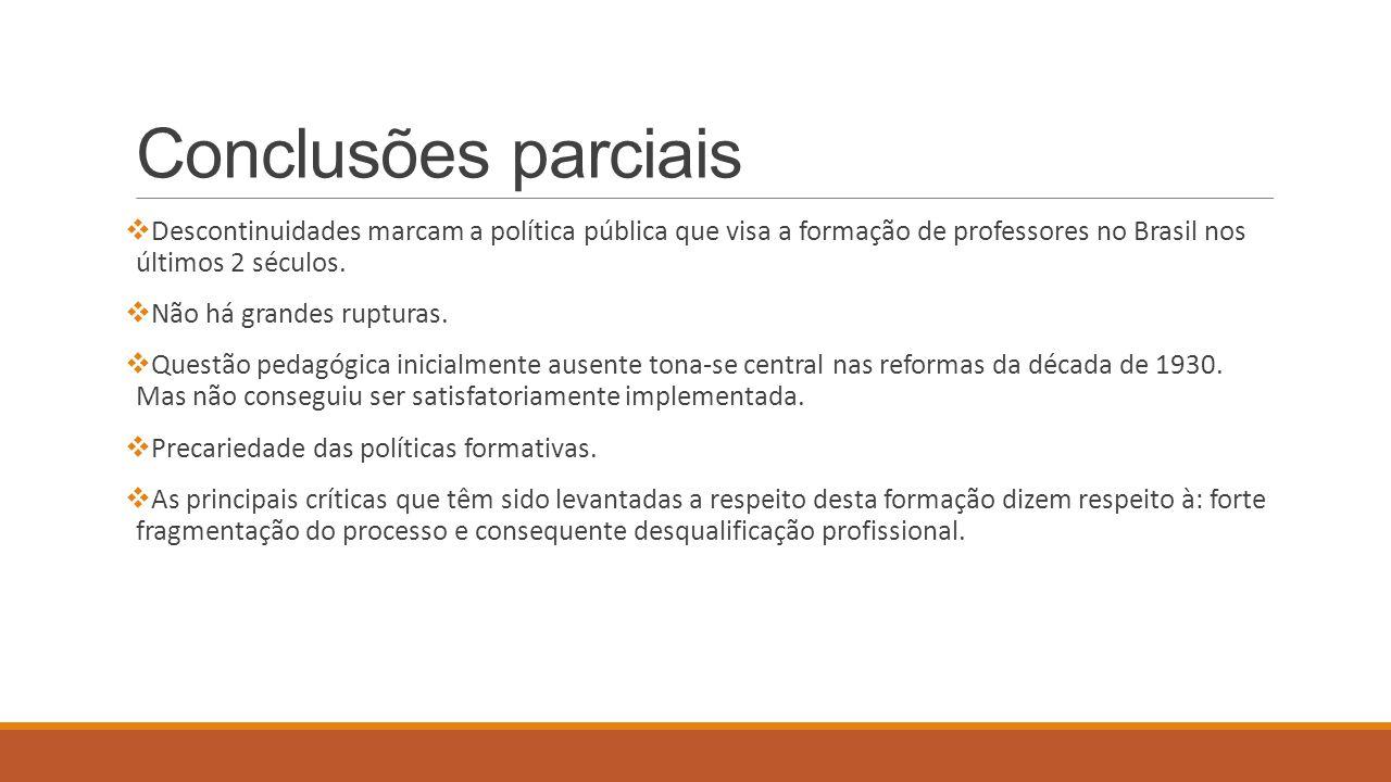 Conclusões parciais  Descontinuidades marcam a política pública que visa a formação de professores no Brasil nos últimos 2 séculos.  Não há grandes